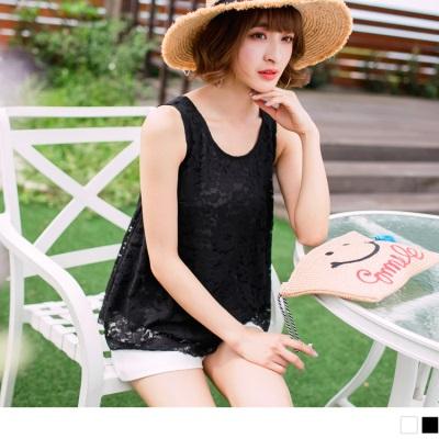 0626新品 浪漫鏤空布蕾絲美背造型傘襬無袖上衣.2色