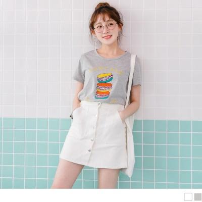 0707新品 英文拼字趣味燙印綴亮片造型高含棉上衣.2色