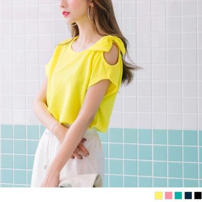 0711新品 側襬抽皺單邊挖肩綴蝴蝶結亮彩純色立體壓紋上衣.5色