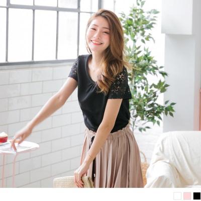 0711新品 質感純色綴鏤空布蕾絲袖口抓皺領造型上衣.3色