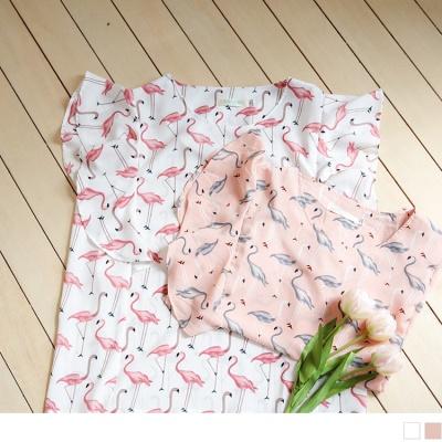 0802新品 滿版紅鶴印花拼接浪漫荷葉袖質感圓領上衣.2色