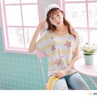 0711新品 配色橫條紋綴亮粉星星燙印側抓皺造型連袖上衣.2色