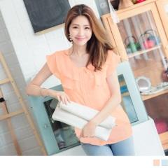 0724新品 質感純色層次荷葉領口打褶造型小蓋袖雪紡上衣.2色