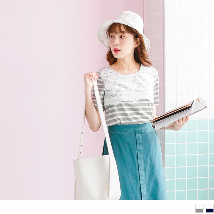 配色橫條紋拼接浪漫布蕾絲領口造型上衣.2色