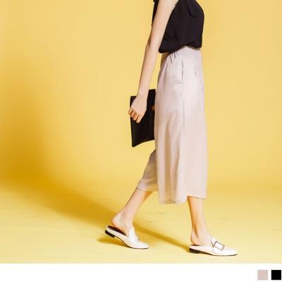 0626新品 後鬆緊口袋素色質感雪紡寬褲‧2色