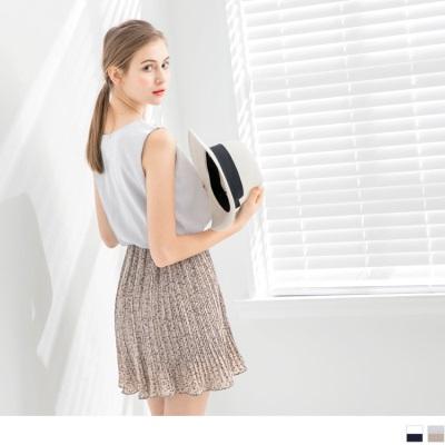 0626新品 無袖壓紋拼接碎花百褶背心洋裝.2色