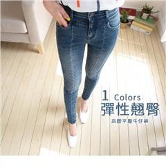 0817新品 個性刷色正面立體車線彈性翹臀牛仔窄管褲