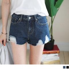 【周末限定♥現折100】經典刷色褲襬破損抽鬚造型單寧短褲.2色