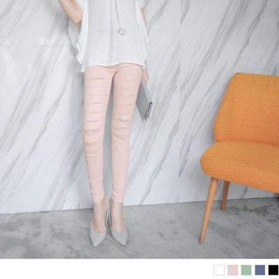 0613新品 繽紛多色刷破造型彈性窄管褲.5色