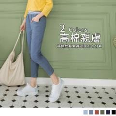 0612新品 多色素面腰圍鬆緊綴橫條造型彈性七分褲.5色