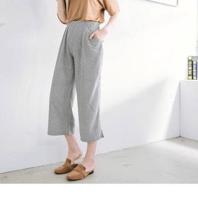 0626新品 格紋雪紡腰鬆緊打褶長褲