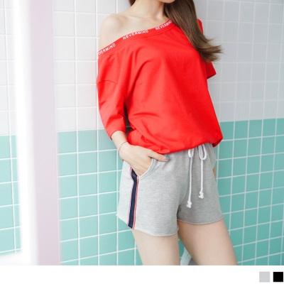 0707新品 抽腰綁帶兩側撞色網布點綴不收邊高含棉休閒短褲.2色