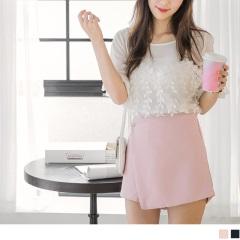 0810新品 素色層次腰側綴金屬墜飾一片式拼接褲裙.2色