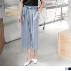 0808新品 腰間抽繩綁帶後腰圍彈性鬆緊雙口袋七分寬褲.2色