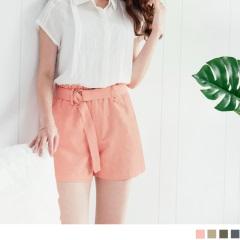 【百搭單品♥現折50】附腰帶純色水洗棉麻質感高腰短褲.4色