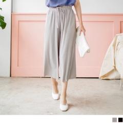 質感純色抽腰綁帶直壓紋彈性七分寬褲.2色