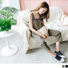 純色吊帶造型高含棉休閒雙口袋連身九分長褲.2色