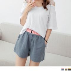 【抗暑涼一夏】撞色鬆緊腰頭棉麻質感休閒短褲.3色