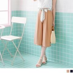 0719新品 附綁帶質感純色打褶造型後腰鬆緊寬褲.2色