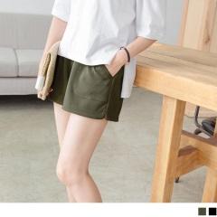 0719新品 腰圍鬆緊純色立體直條織紋褲腳開衩短褲.2色