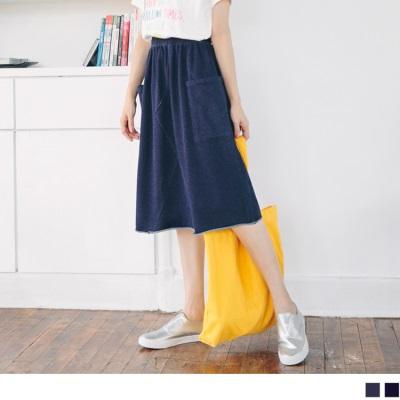 【LINE限定】腰圍鬆緊剪接造型雙口袋不收邊高含棉牛仔中長裙.2色