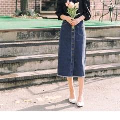 0818新品 經典牛仔綴口袋造型排釦開衩設計長裙