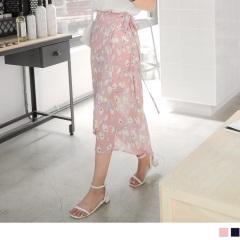 0814新品 滿版浪漫花朵圖案蝴蝶結綁帶一片式雪紡長裙.2色