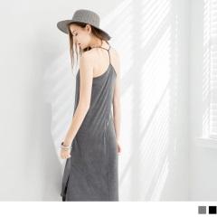 0713新品 親膚開叉襬垂墜感細肩帶連身長裙‧ 3色