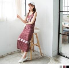 0720新品 質感花紗英文字綴橫條紋燙印側開衩無袖合身長洋裝.3色