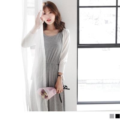 0623新品 純色腰圍鬆緊網紗美背造型無袖長洋裝.2色