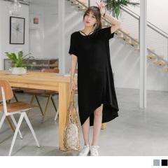 0703新品 質感純色線條領口造型前短後長斜襬彈性長洋裝