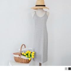 【夏季新品♥任選7折】側襬開衩V領層次細肩帶素面羅紋合身長洋裝.2色