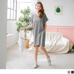 0817新品 交叉美背高含棉拼接抓皺傘袖下襬開衩休閒口袋洋裝.2色