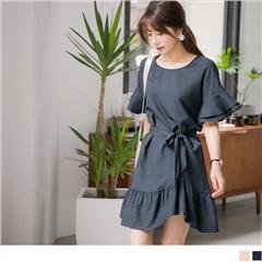 0811新品 附綁帶層次荷葉喇叭袖抓皺魚尾裙襬質感純色洋裝.2色