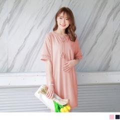 0622新品 領口流蘇綁帶造型拼接鏤空布蕾絲袖口彈性洋裝.2色