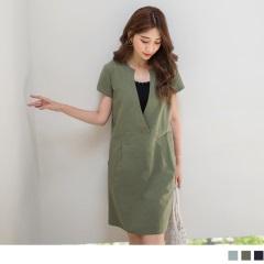 0621新品 簡約素面V領口腰打褶雙口袋造型棉麻短袖洋裝.2色