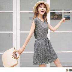 0623新品 繽紛幾何印花蝴蝶結美背造型腰圍鬆緊連袖洋裝.2色