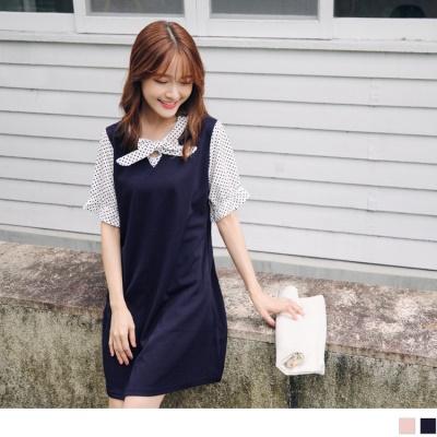 0704新品 質感純色拼接點點蝴蝶結領口綴荷葉袖彈性洋裝.2色