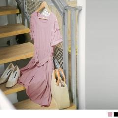 透膚網紗拼肩綴荷葉邊收腰環釦純色壓皺質感洋裝.2色
