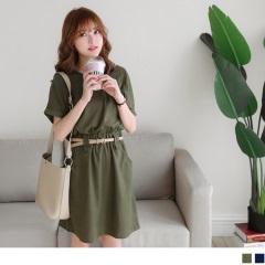 0622新品 純色棉麻V領反摺袖縮腰洋裝.2色