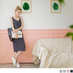 0726新品 配色橫條紋V領口側開衩造型坑條細肩帶長洋裝.4色
