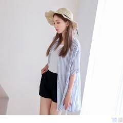 經典配色直條紋胸前排釦前短後長高含棉罩衫/襯衫.2色