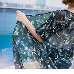 附綁帶滿版星空綴花朵圖案雪紡開襟長版罩衫/外套