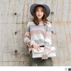 0918新品 簡約拼色橫條紋長版針織毛衣.2色