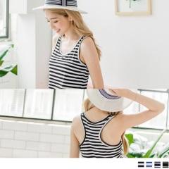 【抗暑涼一夏】經典簡約橫條紋挖背鏤空涼感無袖背心.4色