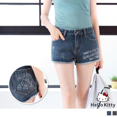 【KITTY♥任選7折】HELLO KITTY單字刺繡褲腳抽鬚牛仔短褲.2色