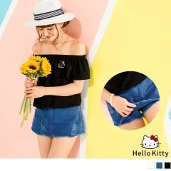HELLO KITTY抓破鬚邊純色高含棉短褲裙.3色