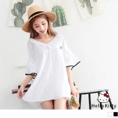 KITTY純色高含棉滾邊喇叭袖V領寬鬆長版上衣.2色