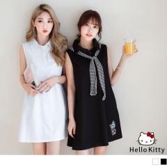 0714新品 KITTY冰淇淋燙印排釦半開襟傘襬無袖洋裝.2色