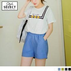 0602新品 台灣製造~舒適彈性斜紋腰圍鬆緊褲管反褶休閒短褲.5色